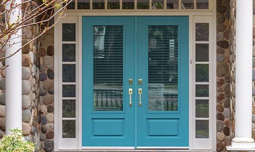 Blue double door